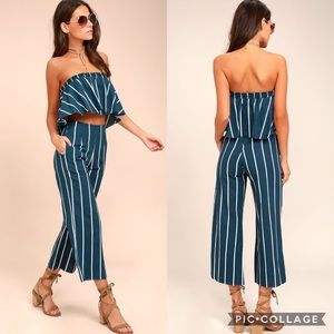 Faithfull the Brand Set Crop Top Pants Blue Stripe